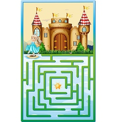Game template with princess and castle vector image vector image