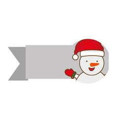 ribbon with cartoon snowman christmas design vector image