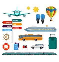 set of summer holidays transport items vector image