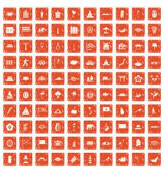 100 asian icons set grunge orange vector