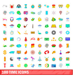 100 time icons set cartoon style vector