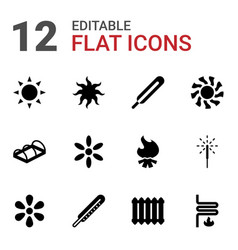 12 warm icons vector image