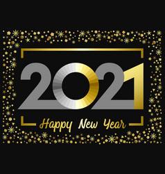2021 golden glitter happy new year card vector