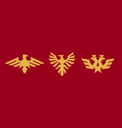 A set logos heraldry eagle bird wings vector