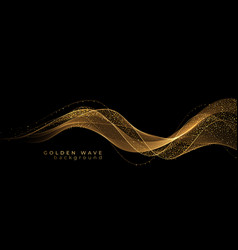 abstract gold waves shiny golden moving lines vector image