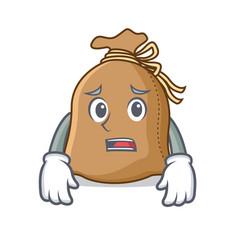 afraid sack mascot cartoon style vector image