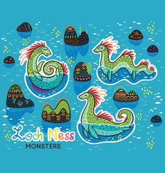 animals patch collection of loch ness monsters in vector image