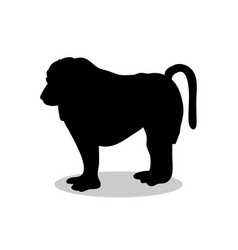 Baboon ape primate black silhouette animal vector