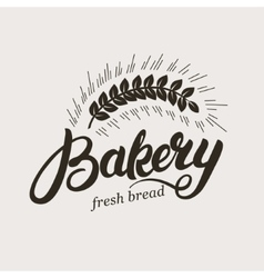 Bakery Hand written lettering logo with ear of vector