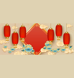 banner template with hanging red chinese lanterns vector image