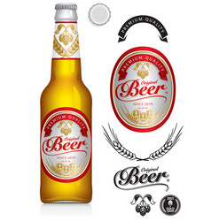 beer label neck label on clear glass bottle vector image