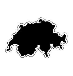 Black silhouette of the country switzerland with vector