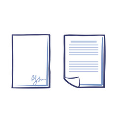 Blank sheet of paper with signature and document vector