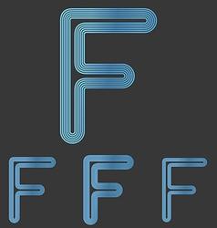 Blue line f logo design set vector