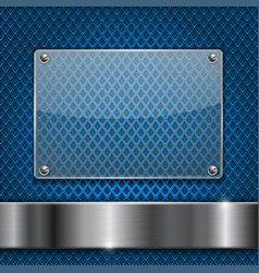 blue perforated background with glass plate vector image