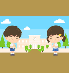 boy and girl student in pay respect post on vector image