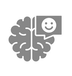 Brain with happy face in chat bubble gray icon vector