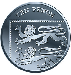 british money gold coin 10 pence vector image