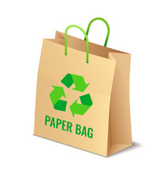 Brown paper eco bag with sign isolated vector