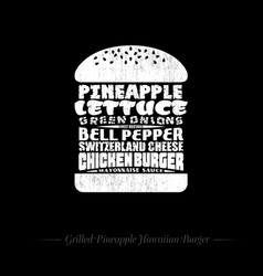 Burger hawaii white black and white chalk drawn vector
