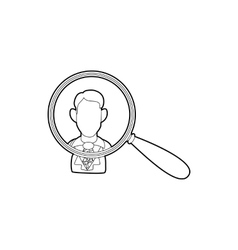 Businessman under magnifying glass icon vector image