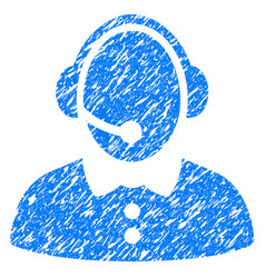 call center woman grunge icon vector image
