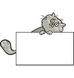 Cartoon cat with board or card vector