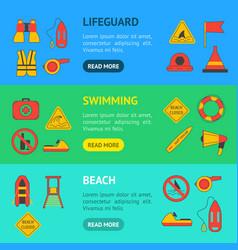 cartoon lifeguard banner horizontal set vector image