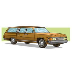cartoon light brown long retro car icon vector image