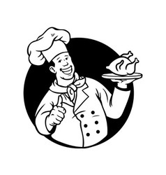 Chef cooking fried chicken black white vector