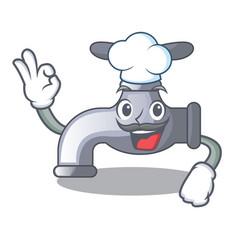 Chef water tap installed in cartoon bathroom vector