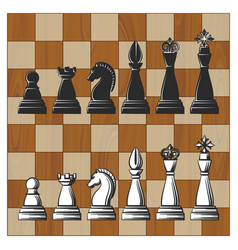 chess pieces on wooden board vector image