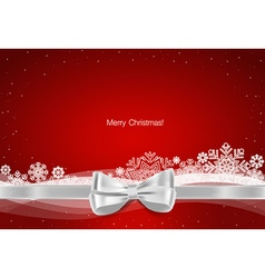 Christmas background Gift bow and Shiny ribbon on vector image
