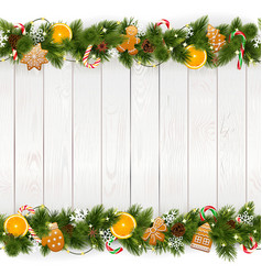 Christmas background with white plank vector