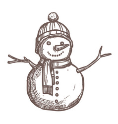 Christmas card with sketch snowman vector