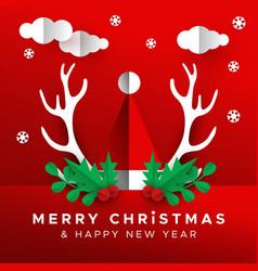 Christmas new year papercut santa claus hat card vector
