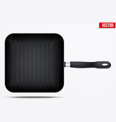 Classic metal square grill pan vector