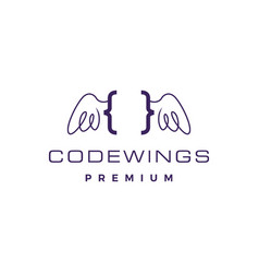 code wing angel logo icon vector image