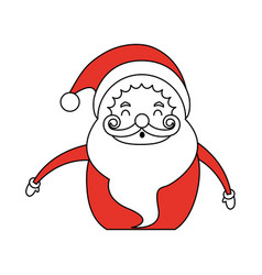 Color silhouette image cartoon half body fat santa vector