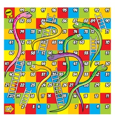 Colorful snake and ladder game vector