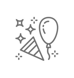 Confetti party popper with balloon line icon vector
