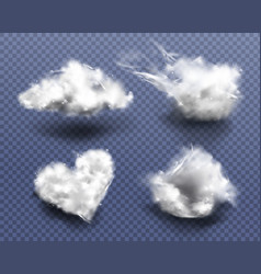 Cotton wool pieces in shape cloud and heart vector