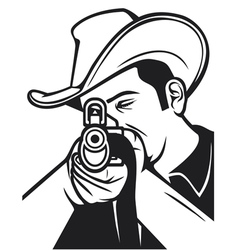 cowboy shooting a rifle vector image