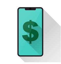 currency symbol on smartphone screen vector image