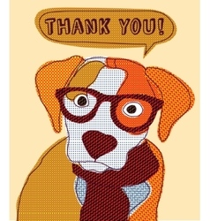 Cute dog thank you card patchwork vector