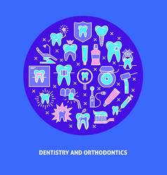 Dentistry round concept banner in colored line vector