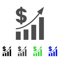 dollar bar chart trend icon vector image