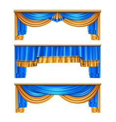 Draping curtains realistic set vector