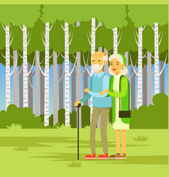 elderly couple walking in park flat vector image