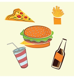 fast food elements set vector image